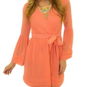 Love Riche Orange Ruffle Bell Sleeve Dress